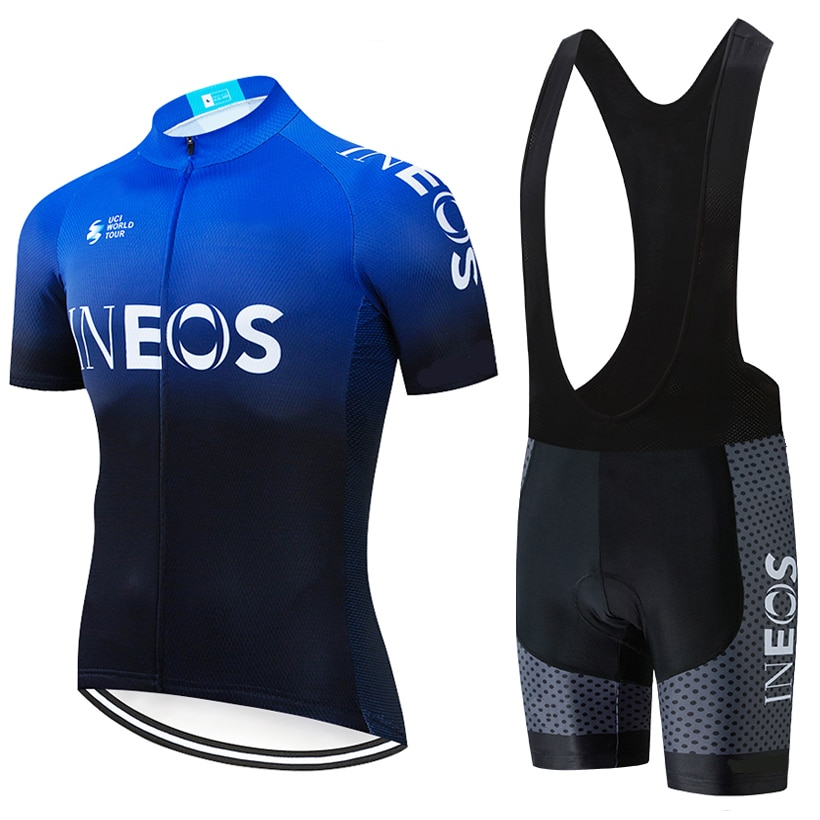 2021 INEOS Summer Cycling Sets 19D Bib Shorts Hombre Maillot Ciclismo Men's Short Sleeve Cycling Jersey Breathable Quick Dry