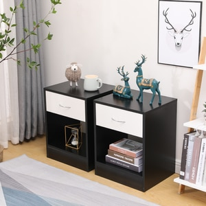 2pcs/set Nordic Solid WoodNightstand With Drawer Bedroom Organizer Furniture Assembled Black & White Cabinet Modern Coffee Table