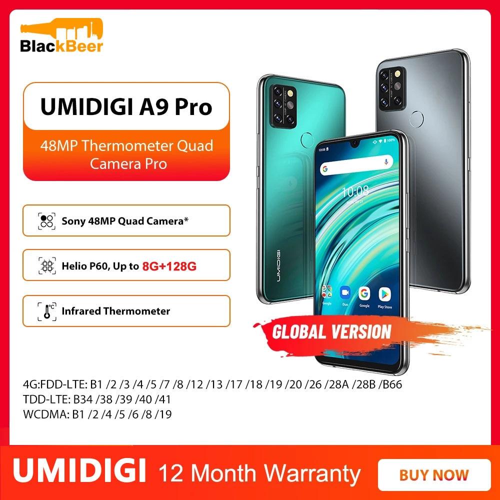 Перейти на Алиэкспресс и купить UMIDIGI A9 Pro Android 10,0 мобильный телефон Восьмиядерный Helio P60 8 ГБ 128 Гб Смартфон 48MP Quad Camera 4G мобильный телефон Глобальная версия