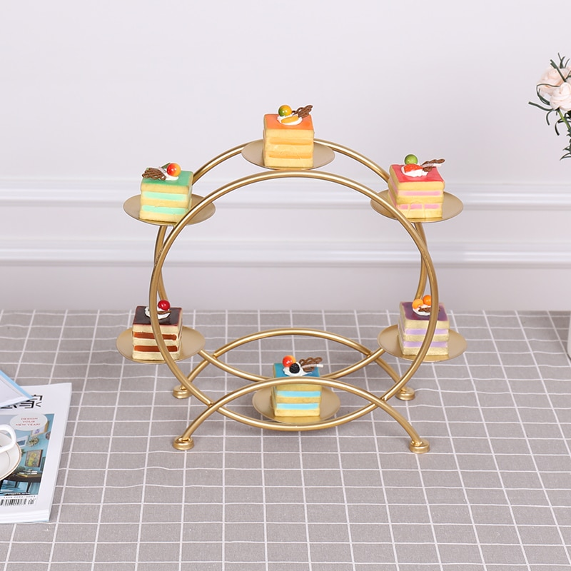 Mesa de postre decoración de comida fría juego de mesa de descanso de té bandeja estante de exhibición jaula de pájaros de hierro forjado cake rack