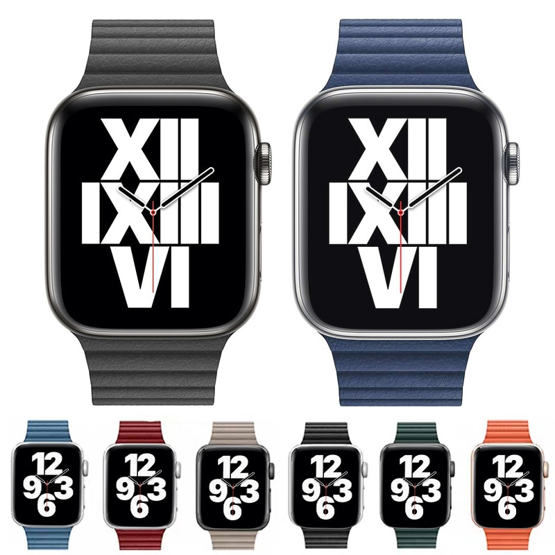 strap genuine leather bands for apple watch 38mm 42mm 40mm 44mm smart watches band for i watch series 5 4 3 2 1 women s bracelet Leather loop for Apple Watch band 44mm 40mm iWatch band 38mm 42mm Magnetic watch bracelet for Apple watch strap series 3 4 5 6 2