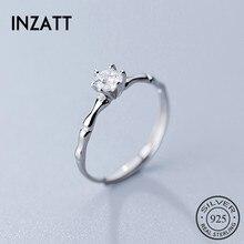 INZATT Real 925 en argent Sterling minimaliste Zircon anneau douverture pour les femmes de mariage mignon bijoux fins 2019 accessoires cadeau