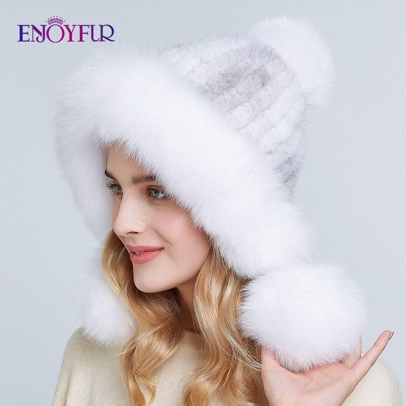 ENJOYFUR women winter real mink fur hats fluffy natural fox fur pompom ear protect caps hand sewn knitted fashion female fur hat