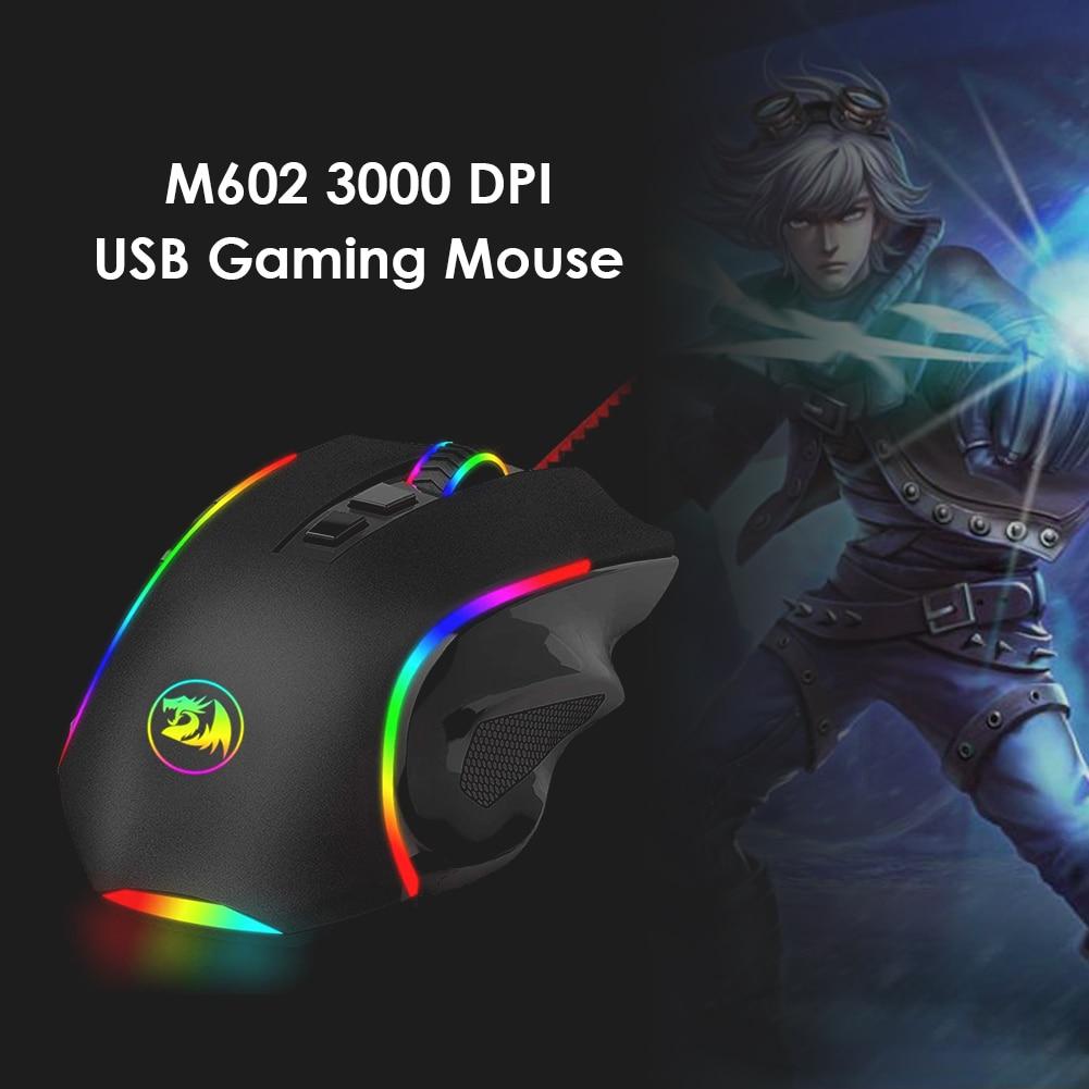 8 أزرار قابل للتعديل الألعاب ماوس 7200 ديسيبل متوحد الخواص Redragon USB السلكية 5 التروس M602A-RGB ل مكتب رعاية لوازم الكمبيوتر