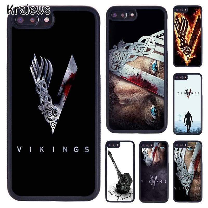 Krajews vikingos Ragnar Lothbrok funda de teléfono para iPhone 5 S 6 S 7 8 Plus 11 Pro X XR XS Max Samsung Galaxy S6 S7 S8 S9 S10 plus