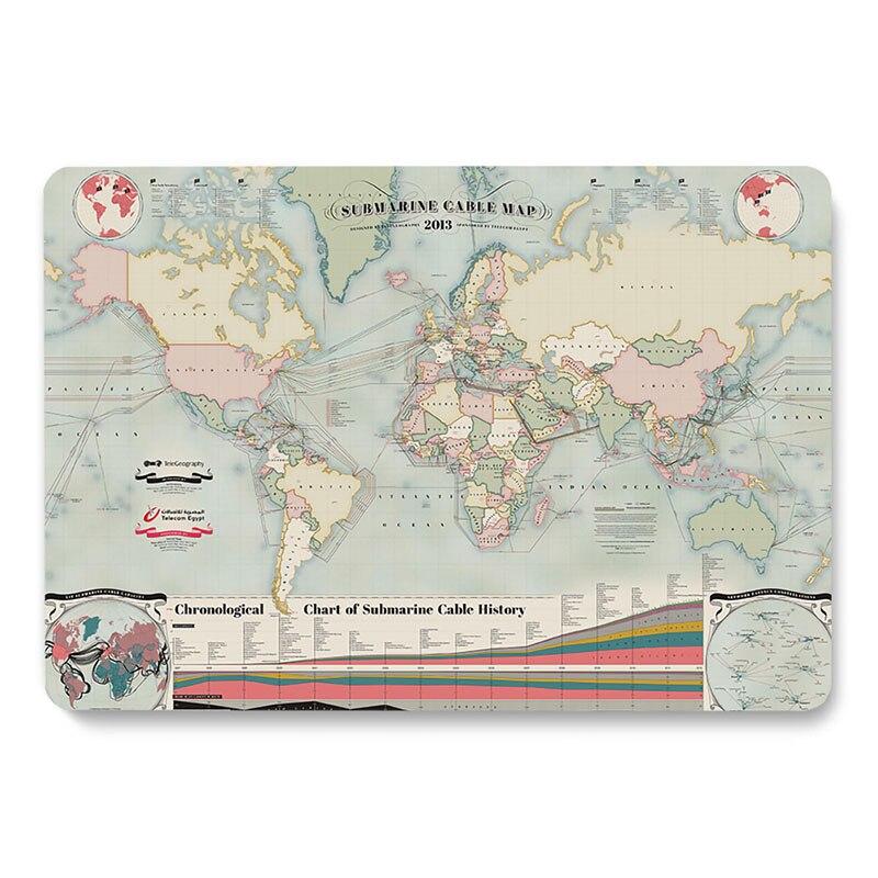 حافظة كمبيوتر محمول بنمط خريطة العالم ، طراز عتيق ، لجهاز Apple MacBook Retina Air 11.6 12 13.3 ، Pro 15.4 ، 16 بوصة ، جديد