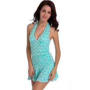 SWIMMART Watermelon Print Female Swimwear Large Sizes Underwired Push Up Swimsuits Women Bath Clothes Wrap Dress Bathing Suits