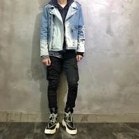 high street fashion men jackets top quality ripped denim punk coats retro light blue destroyed hip hop biker chaqueta hombre