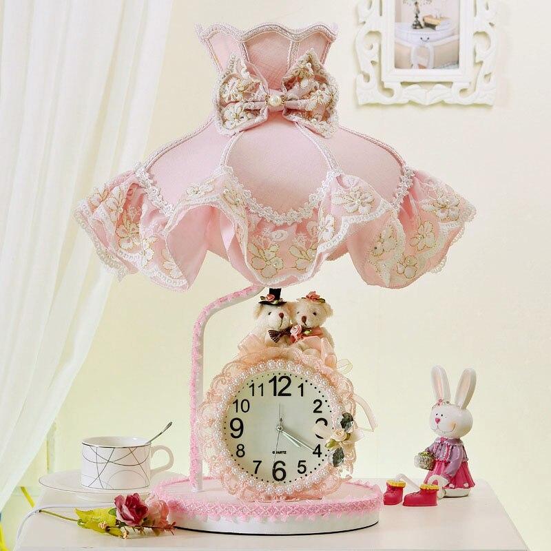 Encaje clásico europeo lámparas de mesa con tela coreano Rosa chica boda cumpleaños regalo toque interruptor lámparas cabecera y vestíbulo y dormitorio XD005