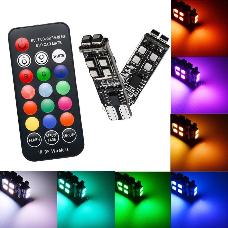2x RGB T10 3535 bombillas LED de colores para coche con Control remoto W5W RF luz de lectura amplia intermitente