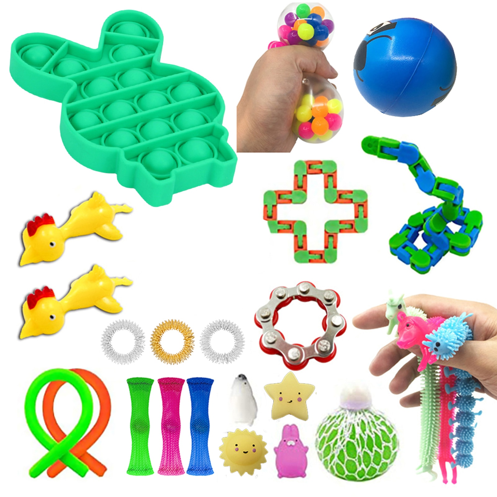 24 IN 1 Fidget Antistress Toys Decompression Antistress Premium Durable Simple Dimple Hand Stress Relief Toy For Children Kids enlarge