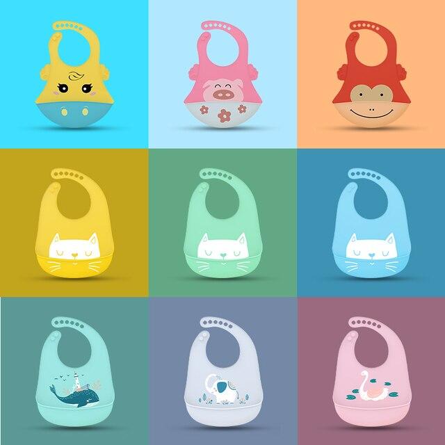 Baby Bib for Newborn Cute Cartoon Print Kid Feeding Arpon Waterproof Baby Bibs Silicone Adjustable Food Saliva Towel  Burp Cloth 2