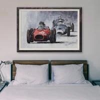 Peinture classique de voiture de course retro T121  competition 43  affiche en soie personnalisee  decoration murale  cadeau de noel