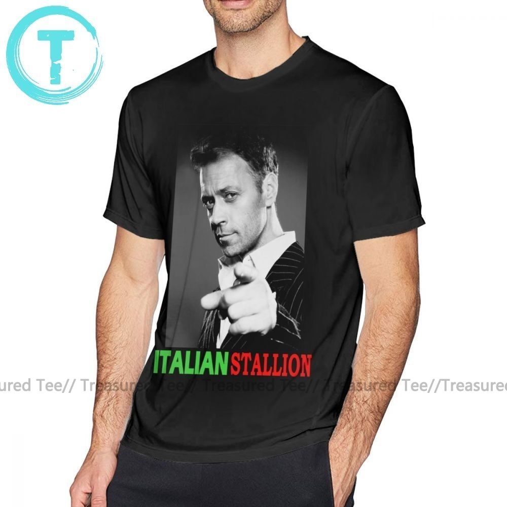 Camiseta de Dexter italiana STALLION - ROCCO SIFFREDI, Camiseta clásica de algodón 100 por ciento, camiseta de manga corta divertida para hombres