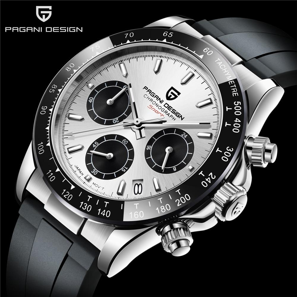 PAGANI DESIGNFashion Men Quartz Watch VK63 Movement Luxury Sports Watch Men Rubber 100M Waterproof Chronograph relogio masculino