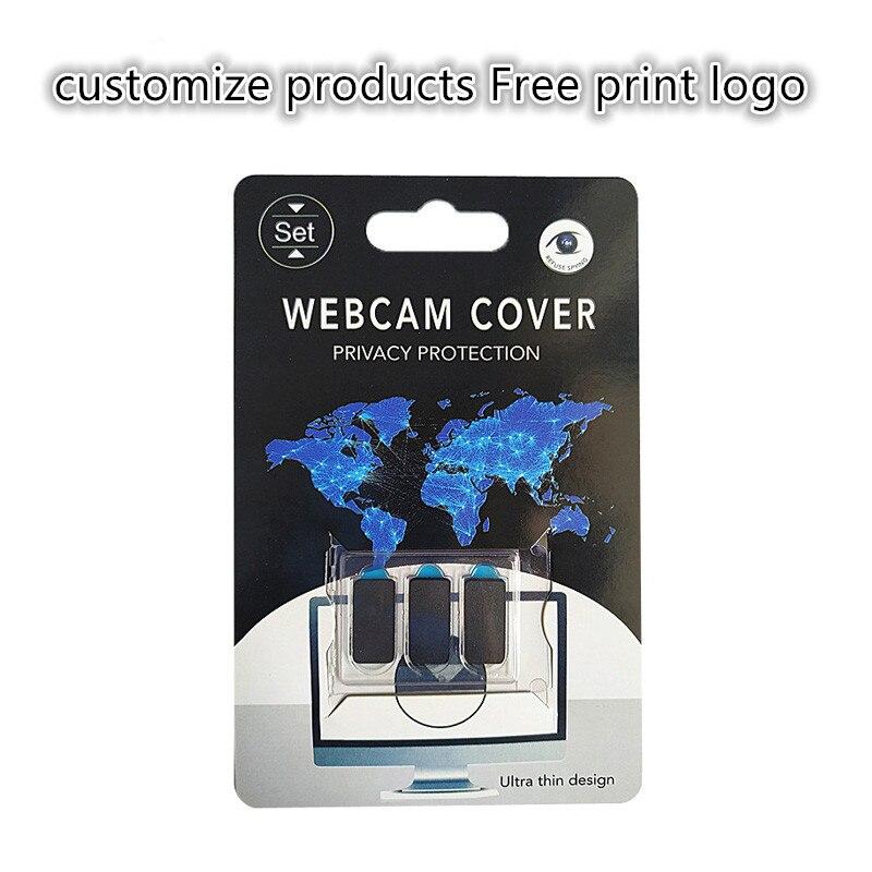 100-500 pièces rectangle produits personnalisés impression gratuite logo WebCam couverture Ultra mince obturateur curseur caméra lentille couverture avec emballage