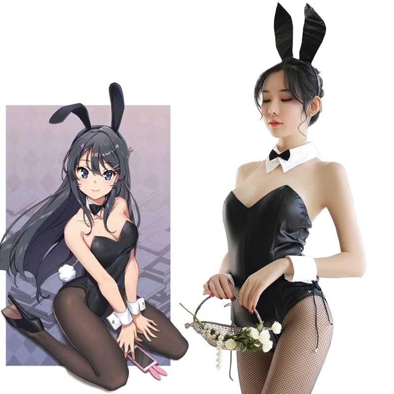 Seishun Buta Yarou wa Bunny Girl Senpai no Yume wo Minai Cosplay Halloween Costume for Girls  Cute Bunny Faux Leather Rabbit