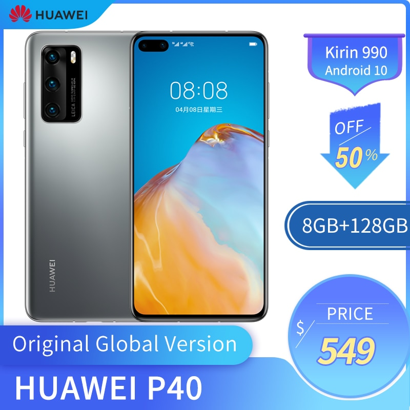 Original Huawei P40 5G Mobile Phone 6.1 Inches OLED Screen 422PPI 8GB +128GB ROM Smart Phone 50MP 3800mAh Kirin 990 Android 10