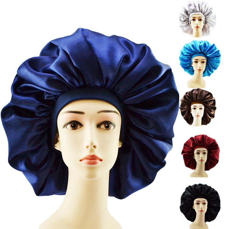Big Size Silk Sleeping Cap Night Hat Head Cover Bonnet Satin Cheveux Nuit For Curly Hair Care Women