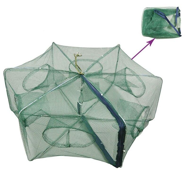 Portátil dobrável redes de pesca gaiolas rede casting peixes camarão lagostins catcher net