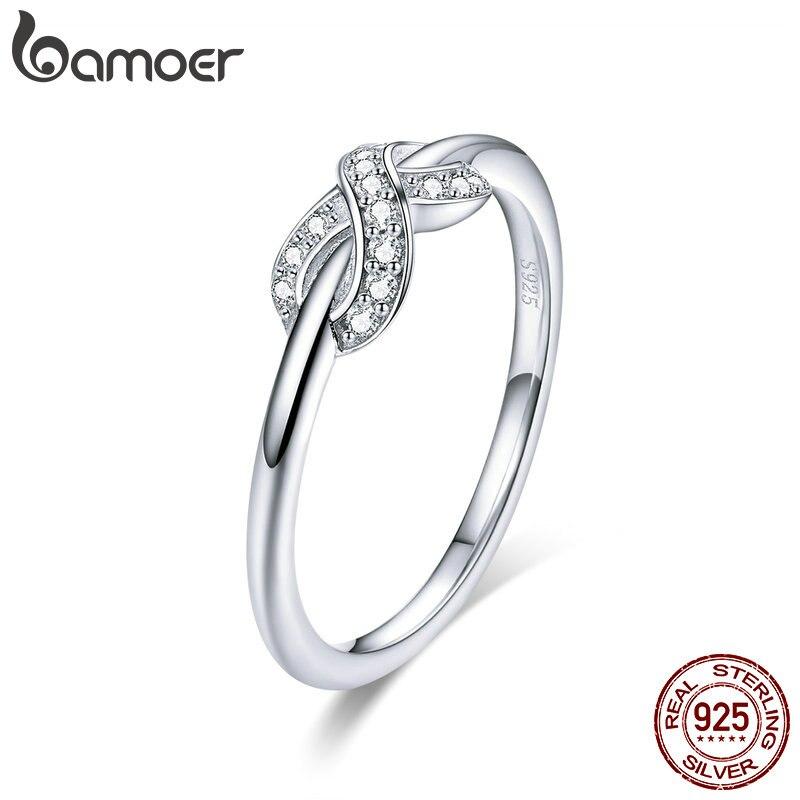 Bamoer venda quente 925 prata esterlina infinito amor infinito claro cz anéis para mulheres noivado casamento jóias scr494