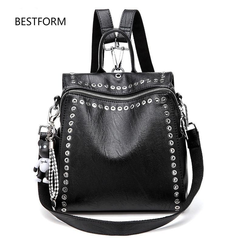 2020 New Women Leather Backpack Rivet School Bags For Teenage Girls Fashion Female Bagpack Schoolbag Black Channels Knapsack