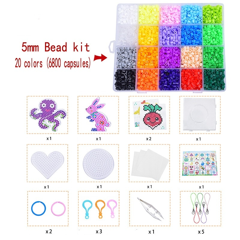 Bead Set 5 Mm 6800 Hama Beads Full Set with Nail Plate 3D Puzzle DIY Toy Children's Creative Handmade Craft Toy Gift