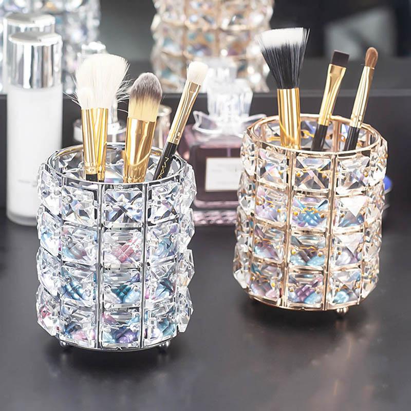 Soporte de lápiz de cristal para brochas de maquillaje, organizador de brochas de maquillaje, organizador de brochas para cejas, contenedor de papelería