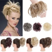 synthetic messy hair bun hairpiece rubber band elastic womens chic chignon false wavy culry updo