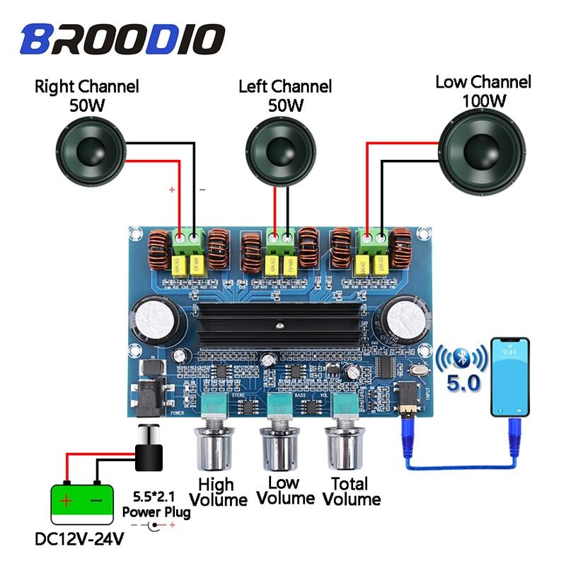 Bluetooth 5.0 tpa3116d2 placa amplificador de potência digital 2.1 canais 2*50 w + 100 estéreo potência áudio classe d baixo subwoofer amplificador