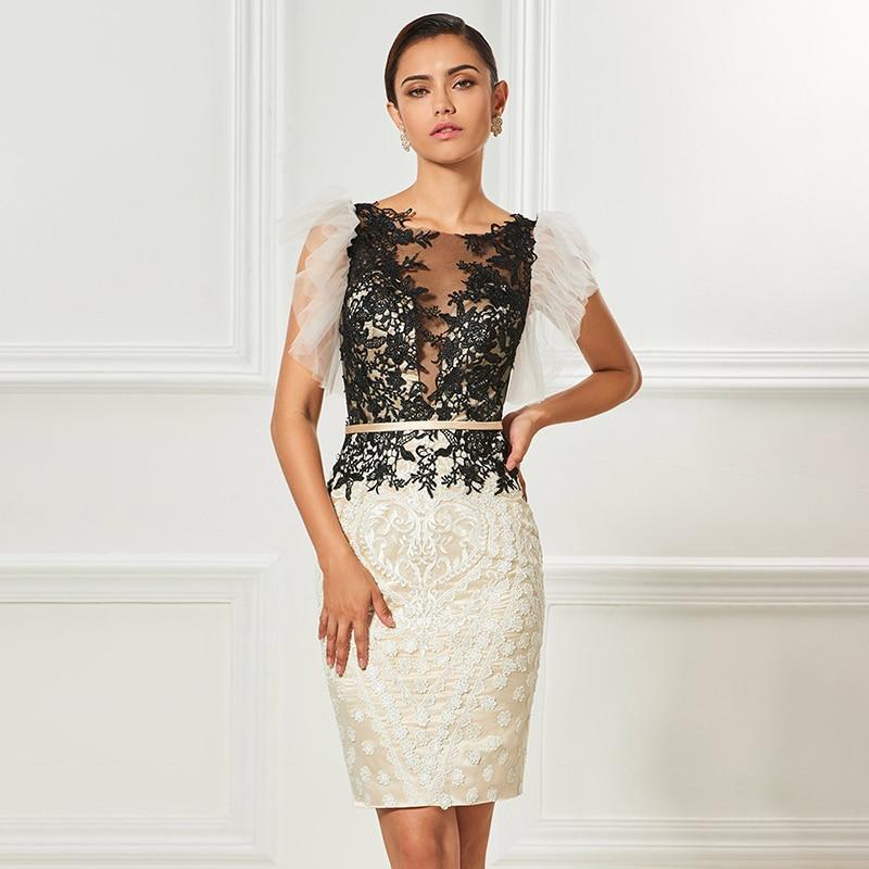 Dressv  Cocktail Dresses Scoop Neck Sheath Appliques Sashes Knee Length Sleeves Elegant Cocktail Dress Formal Party Dress фото