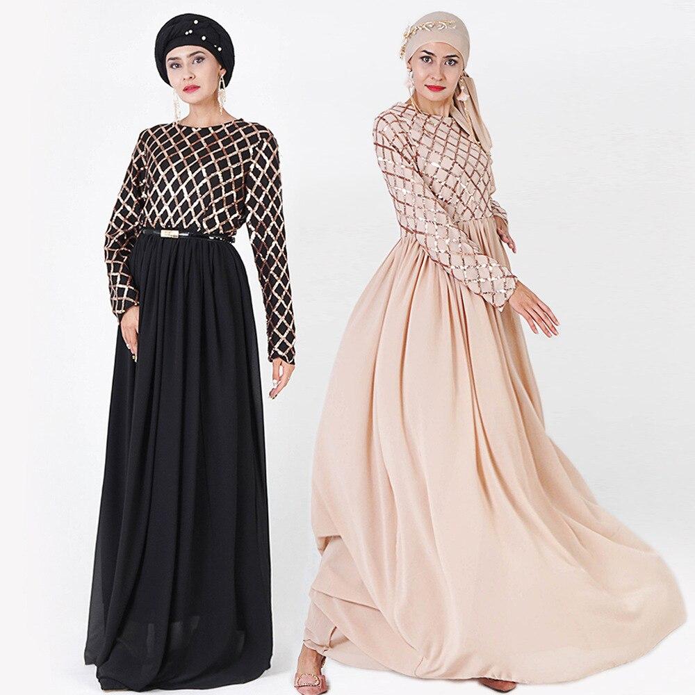 Vestido Abaya musulmán elegante de gama alta para mujer, vestido Maxi de manga larga con lentejuelas y gran vuelo, Kimono de Dubai, vestido Hijab elástico, ropa islámica