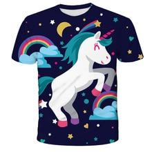 2020 3D Одежда для девочек милый Единорог Футболка для мальчиков «унисекс» для мальчиков, Короткие Детские футболки с принтом
