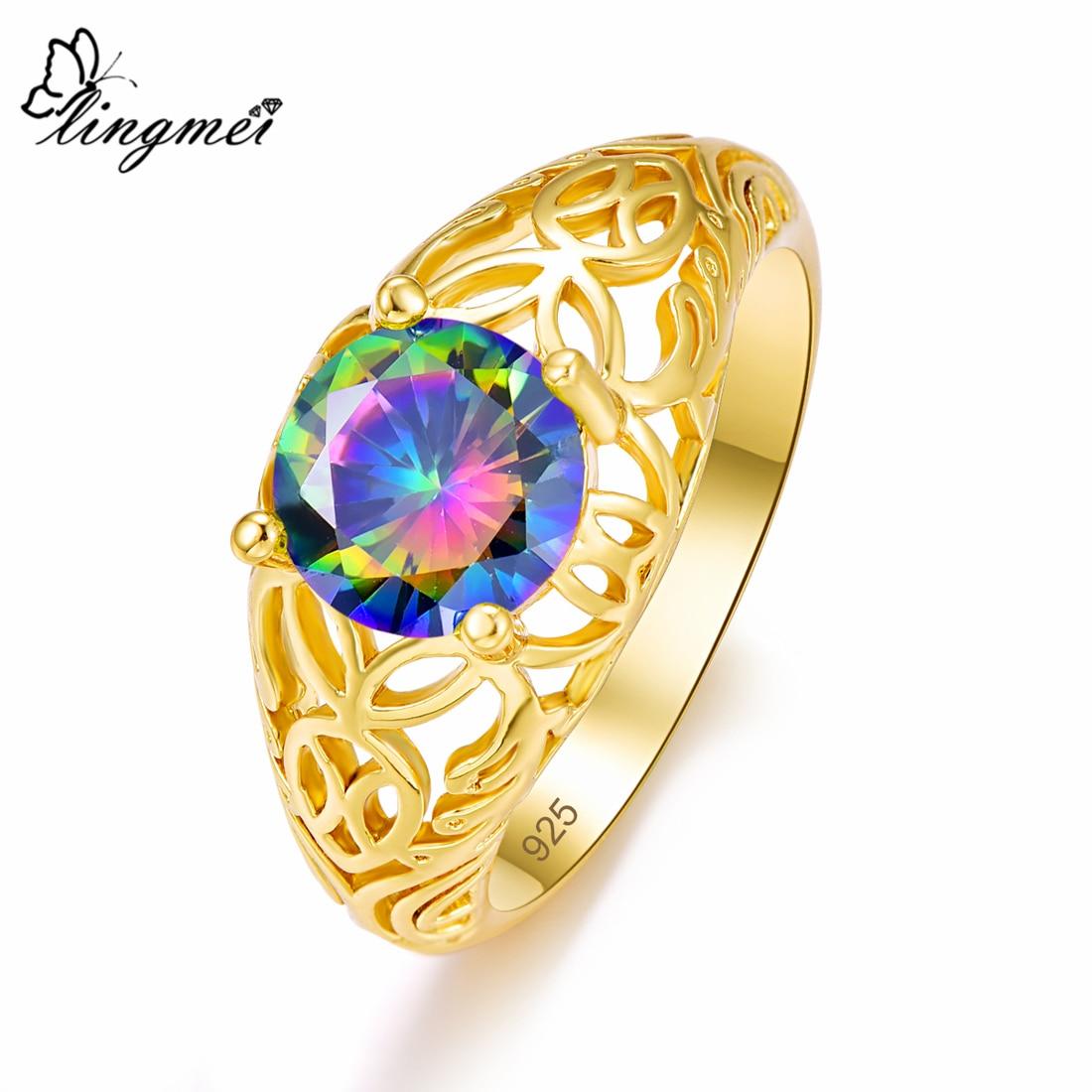 Lingmei, joyería de circonita para fiesta de cóctel de moda, Color plateado, amarillo, dorado, tamaño 6-9, anillos de boda de aniversario