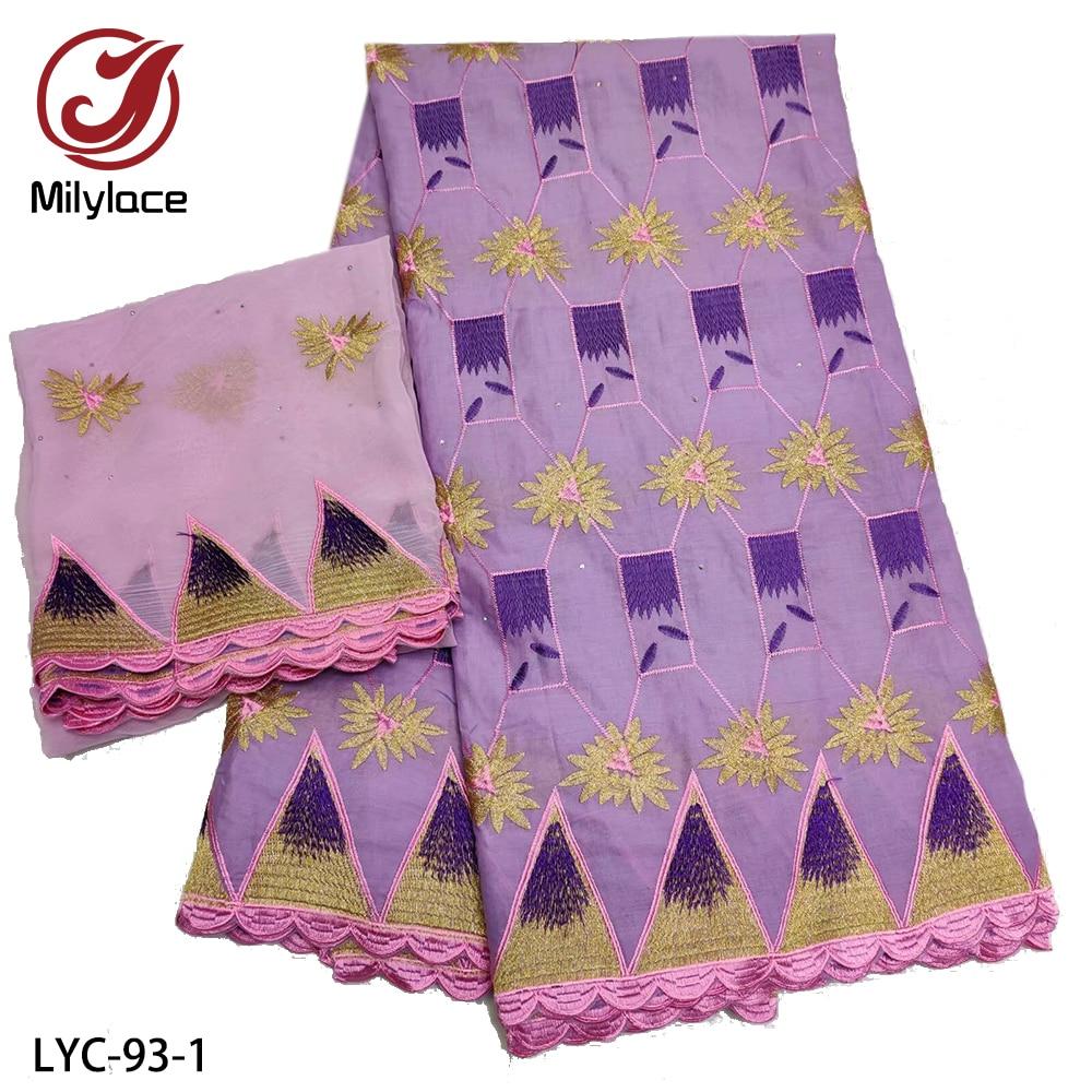 Bordado de tela de algodón de 100% de encaje africano de alta calidad con decoración de piedra con 2 yardas de tela de gasa LYC-93