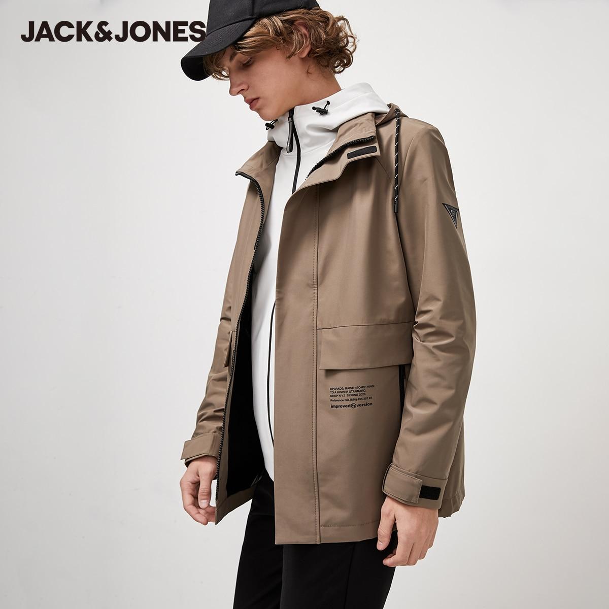 JackJones-جاكيت كارجو كاجوال بقلنسوة للرجال ، بياقة عالية ، برباط ، مقاوم للماء ، 220121534