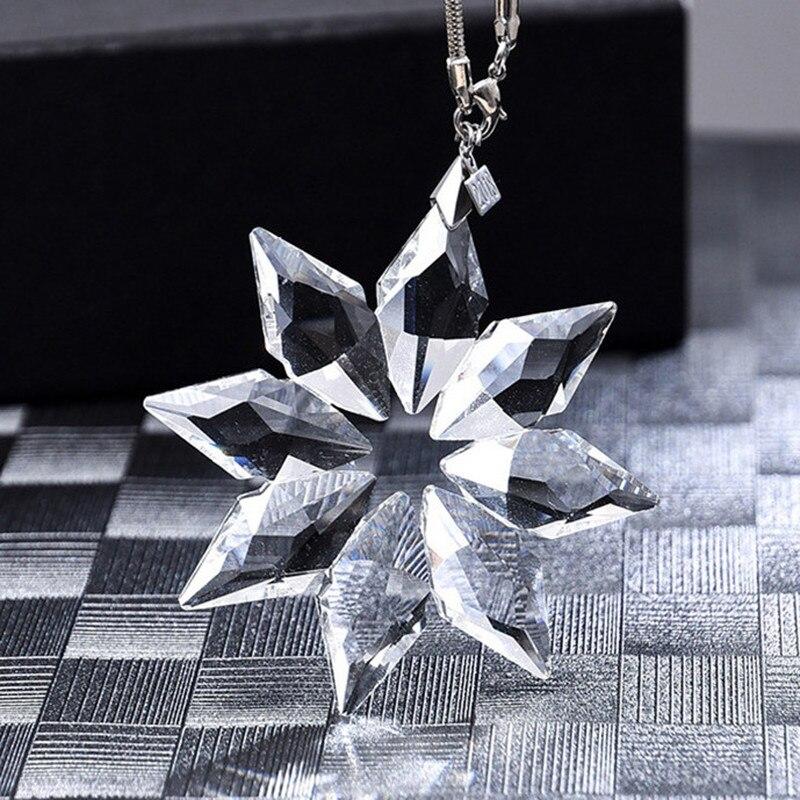 Bonitos accesorios de Navidad para mujer con cristales de nieve brillantes colgantes para colgar en el espejo del coche