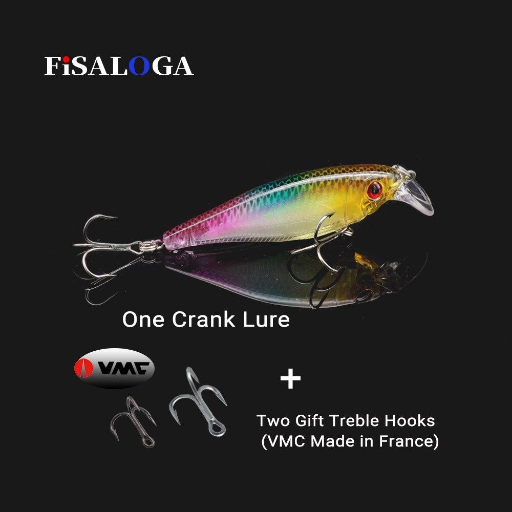 FiSALOGA Carp Fishing Crankbait Top Water Trout Fishing Lure 90mm 12.5g Wobbler Swimbait Hard Crank Bait Gift 2 VMC Treble Hooks