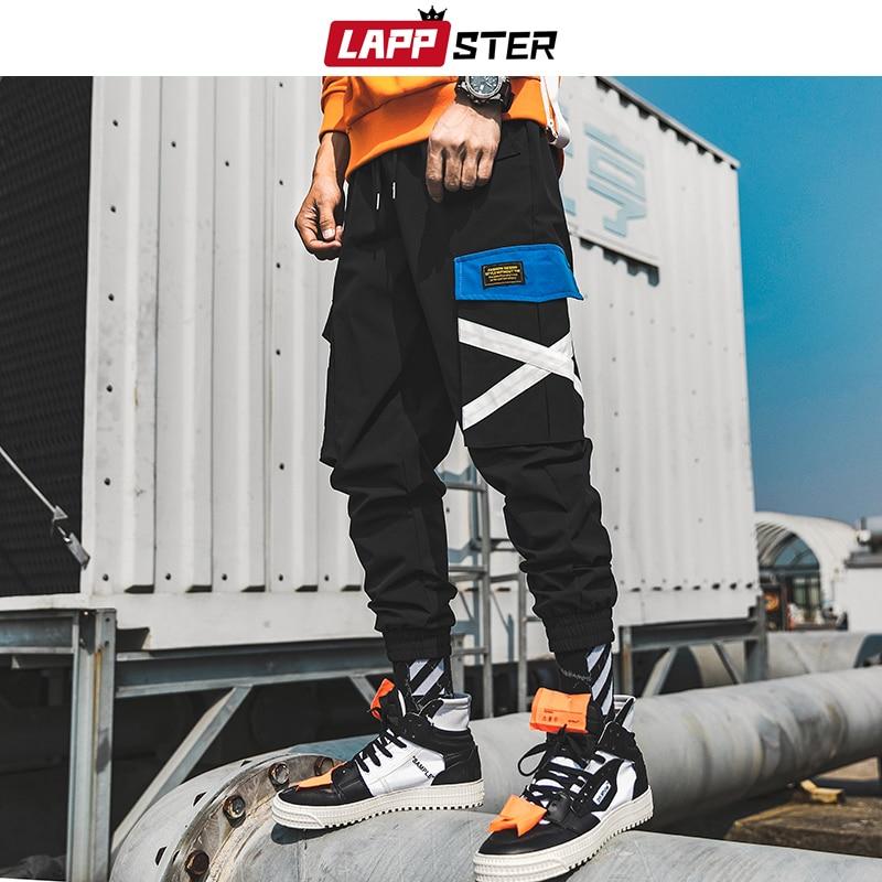 LAPPSTER Men Cross Japanese Streetwear Cargo Pants 2020 Overalls Man Black Hip Hop Baggy Joogers Pants Camouflage Sweatpants