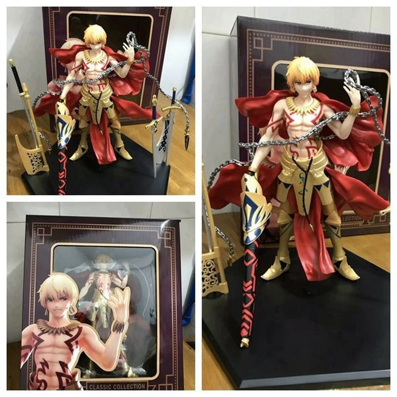 Anime 26cm FGO gran orden Caster Archer Gilgamesh GK 1/8 escala pintada PVC acción figura saber colección modelo muñeca Juguetes