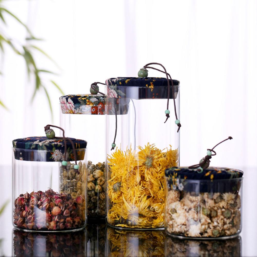 Diseño clásico chino, Juego de 4 botes, frascos de vidrio para almacenar alimentos contenedores, botes de vidrio de cocina con tapa de bambú hermético