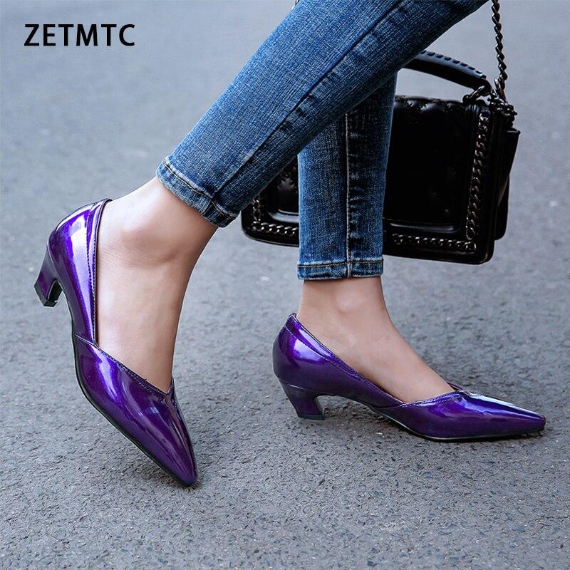 Женские туфли-лодочки из искусственной кожи на высоком каблуке 4 см, черные тонкие туфли с острым носком, сезон осень, большие размеры 31-48, 2019