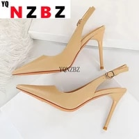 yqnzbz 2021 autumn sexy pointed toe thin high heels sandals women fashion buckle strap stripper shoes ladies pumps big size 43