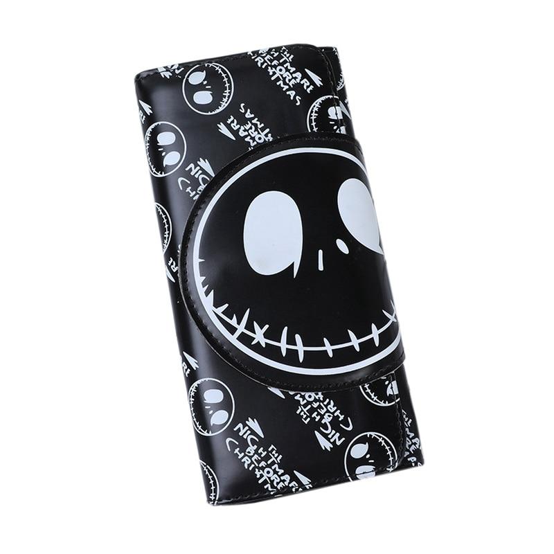 Cartera larga de cuero PU de pesadilla antes de Navidad de Jack skeleton, tarjetero, monedero para regalo
