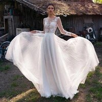 wedding dress boho 2020 a line tulle lace appliqued long sleeve beach bridal dress bohemian wedding gowns vestidos