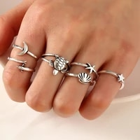 vintage silver color butterfly elephant feather ring set for women punk boho jewelry heart star dolphin moon finger accessories