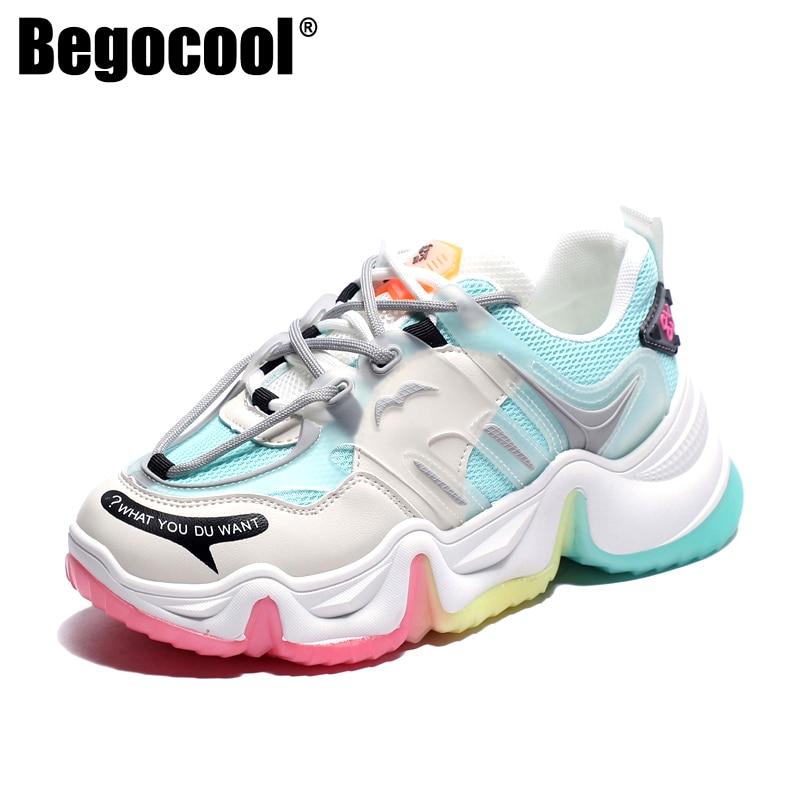 Begocool, tendencia 2020, zapatillas de plataforma para mujer, zapatillas gruesas de diseñador de moda para papá mayor, suela gruesa de arco iris, zapatos de mujer, zapatillas deportivas blancas