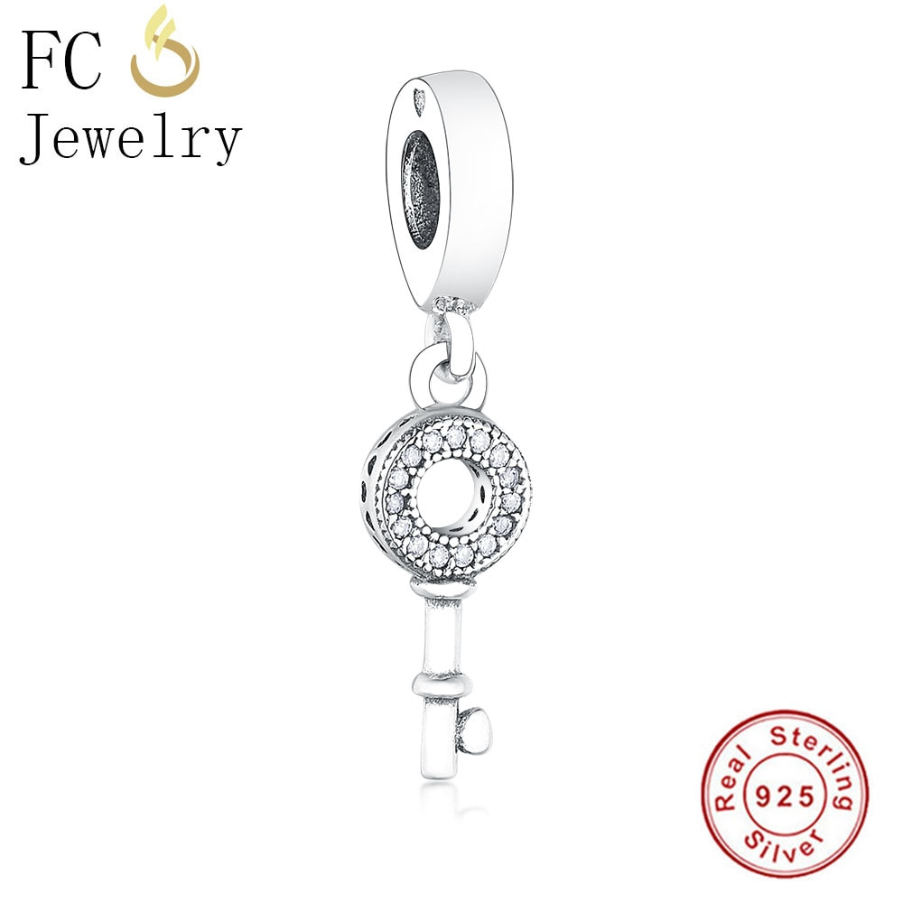 FC Jewelry Fit Original Pandora Charm Bracelet 925 Sterling Silver Key For Handbag Travel Zirconia Heart Bead Making Berloque