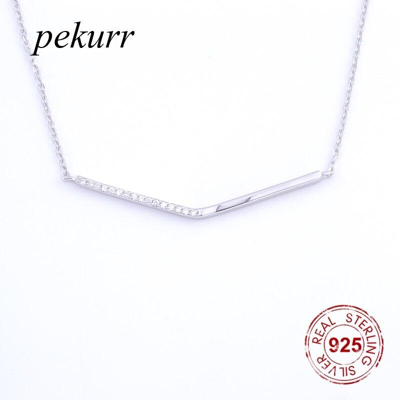 Pekurr 925 Sterling Silver Simple Cubic Zircon Long Link Strip Necklaces For Women Pendants Geometric Branch Choker Jewelry Gift
