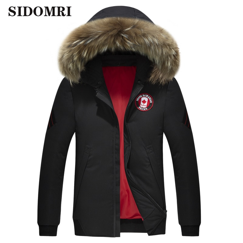 Winter down jacket men faux fur collar New outdoor warm down jacket men's fashion brand high quality